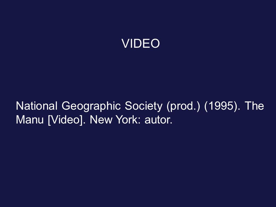 VIDEO National Geographic Society (prod.) (1995). The Manu [Video]. New York: autor.